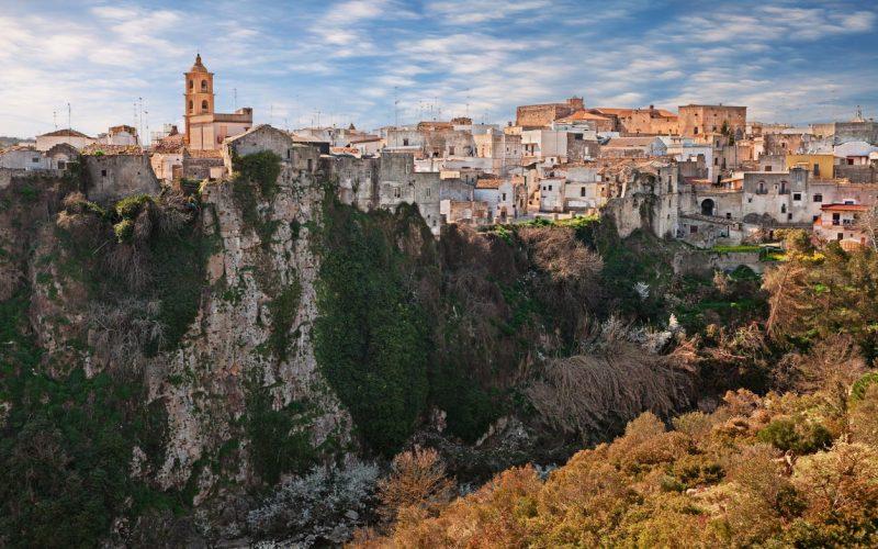 Laterza, Taranto, Puglia, Italy: picturesque landscape of the town over the canyon in the nature park Terra delle Gravine